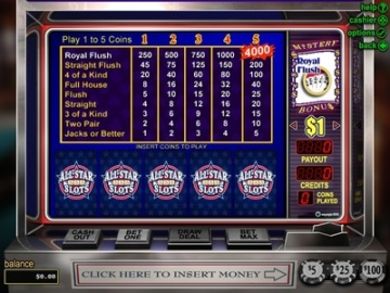 all star slots casino video poker