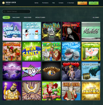 irish luck casino games