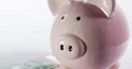 online casino bankroll management piggy bank and dollars