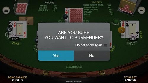 online blackjack surrender rule usa
